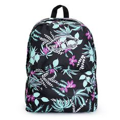 A vibrant floral print pops against the Black exterior of this mid-size backpack that comes equip with ample storage space perfect for carrying all your necessities. Vans Backpack, Backpack Bags, Vans Bags, Cute Backpacks, School Backpacks, Jordans Girls, Backpack For Teens, Vans Off The Wall, Shopping