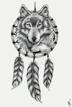A wolf in a dreamcatcher, would really love this as a tattoo with different feathers