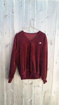 42c6c6300f Vintage 80s Velour Sweater Sweatshirt Burgandy