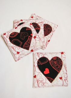 Quilted Heart Coasters  set of four by QPCC on Etsy