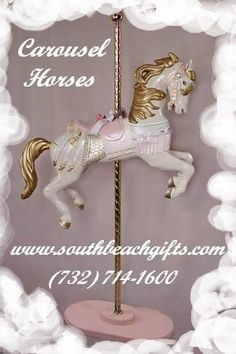 Best top Ideas Carosel center pieces for baby showers Birthday Party ,Paper Mache supplies. We also sell all styles of Carrosel horses in different Sizes. Call  732-714-1600  http://www.southbeachgifts.com/Carousel_Horses_Reproductions.htm https://www.pinterest.com/southbeachgifts/