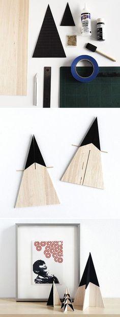 木を使っても風合いがでていいですね。基本の作り方は上と同じですが、こちらはブラックの塗り方で表情が変わるクールなツリー。スタイリッシュなインテリアにも合いそうですね。 〈ポイント〉 木はバルサなどのやわらかい素材を選ぶと、普通のカッターで切ることができます。