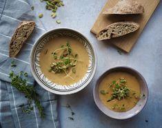 Vintersuppe med en masse grøntsager Thai Red Curry, Soup Recipes, Food And Drink, Dinner, Cooking, Ethnic Recipes, Desserts, Drinks, Dining