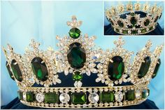Men's unisex rhinestone Gold full Emerald Green Royal Premium Crown Elegant and regal fully round crown fit for a king or queen. This is the best crown to wear to a homecoming event, parade or carniva