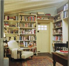 The Holiday--Iris's library. Love that all Meyers' fim houses have built-in bookcases and libraries, even this tiny cottage.