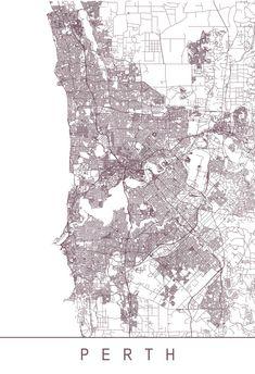 PERTH MAP Minimalist Perth Art Print by EncoreDesignStudios