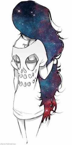 Galaxy Hair & skull top it's too kawaii! Inspiration Art, Art Inspo, Creative Inspiration, How To Draw Galaxy, Tumblr Hipster, Galaxy Hair, Wow Art, Marceline, Cute Drawings