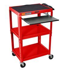 Luxor H. Wilson Adjustable Steel Utility Cart With Keyboard Shelf