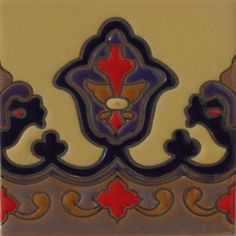 """European relief tiles are highly decorative. They are fabricated by Rustica House in Mexico and often used for kitchen backsplash and stair risers. Relief Tile """"Navy Blue Lily Border"""" by Rustica House. #myRustica"""