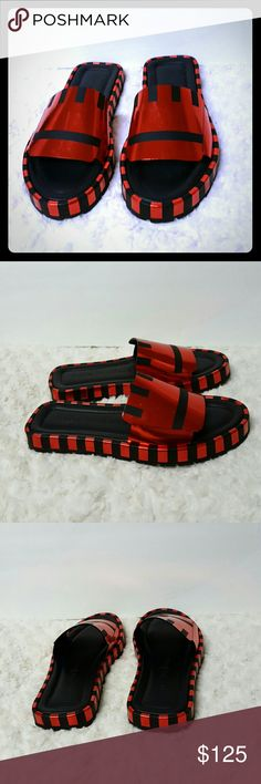 SALE *Acne Studios Wilma Sandals Size 8 Italy SALE: Acne Studios Black &Red Wilma open toe Sandals  Sole measures 1 inch. Metallic Leather, mirrored leather , fits true to size, Italian sizing . in great condition, used only once for few minutes, clean From smoke/pet Free home. Acne Studios Shoes Sandals