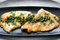 Petrale sole fillets, dusted in flour, sautéed in olive oil and served with a sauce of white wine, lemon juice, capers, parsley and butter.