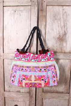 Tote Bag HMONG Embroidered Fabric Hill Tribe by ThaiHandbags