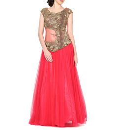 #Coral #Pink Dabka Embroidered #Net #Gown by #Red-Couture at #Indianroots