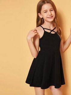 Girls Strappy Neck Fit And Flare Dress – gagokid Teenage Girl Outfits, Kids Outfits Girls, Girls Fashion Clothes, Tween Fashion, Teen Fashion Outfits, Girl Fashion, Cute Girl Dresses, Cute Girl Outfits, Little Girl Dresses