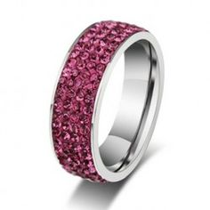Gorgeous dark pink crystal sparkle 4 row steel #ring ..#steeljewellery