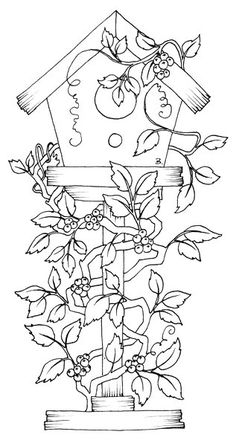 Free Coloring Pages Bird Houses Coloring Book Pages, Coloring Sheets, Embroidery Patterns, Hand Embroidery, Country Paintings, Copics, Digital Stamps, Free Coloring, Bird Houses
