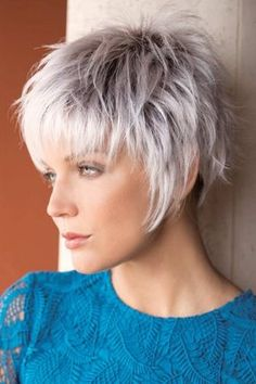 Short Hairstyles For Thick Hair, Short Grey Hair, Shag Hairstyles, Short Pixie Haircuts, Short Hair With Layers, Trending Hairstyles, Hairstyles With Bangs, Short Hair Cuts, Curly Hair Styles