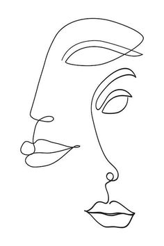 Continuous Line Art Print, One Line Drawing Faces Illustration, Modern Minimalist Sketch Abstract Wall Art Printable Original Artwork Face Outline, Outline Art, Tattoo Outline, Art Abstrait Ligne, Minimal Art, Art Visage, Abstract Face Art, Tattoo Abstract, Abstract Drawings