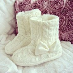 H&M cable knit slipper boots