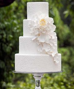 Pretty Four Tiered Embossed Cake