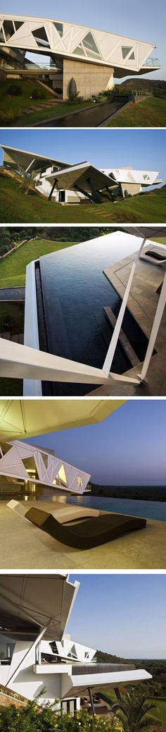 House at Alibag by Malik Architecture  located on a hilltop facing the Mumbai skyline.