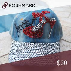 Rhinestone Paris High Heel Denim Distressed Cap Stunning rhinestone studded High Heel Paris Denim Distressed Love. Show off your posh love for fashion in this gorgeous cap! Cap is adjustable to fit all sizes. Sidekicks Accessories Hats