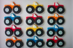 monster truck cupcake toppers (made from fondant) Monster Truck Cupcakes, Monster Truck Birthday, Monster Trucks, Monster Jam, Fondant Cupcake Toppers, Cupcake Cakes, Cupcake Ideas, Truck Cakes, Cookie Decorating