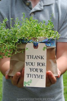 A hand stamped tag and a pretty fabric tie make these Thank You Herb Gifts the perfect Spring gift for teachers, neighbors, volunteers and more!
