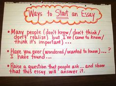 strong ways to start an essay