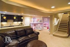 Basement with Bar and Kids Play Area- Entertain in a kid friendly environment! Basement with Bar and Kids Play Area- Entertain in a kid friendly environment! Basement Family Room, Playroom Decor, Kids Playroom Basement, Kids Playroom, Basement Living Rooms, Family Room, Family Room Design, Finishing Basement, Kids Play Area