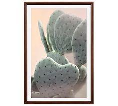 "Dusty Blue Cactus Framed Print by Jane Wilder, 28 x 42"", Ridged Distressed Frame, Espresso, No Mat"