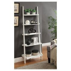 French Country Ladder Bookshelf (5 Shelf) - White - Downstairs bathroom