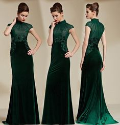 Gorgeous Cap Sleeves High Neck Sweep Train Green Evening Dress