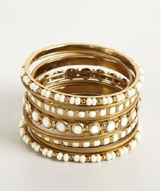 Set of 13 beaded bangles on sale for $27