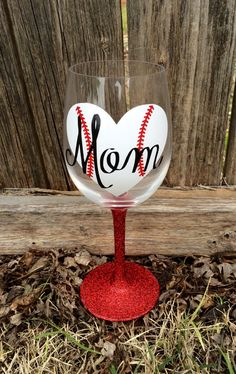 A personal favorite from my Etsy shop https://www.etsy.com/listing/231489287/baseball-mom-red-glitter-stem-wine-glass