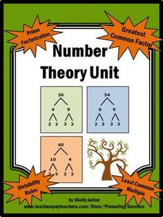 Math Number Theory Unit LCM GCF -- This math unit on number theory has it all: Definitions Divisibility Rules Prime or Composite Factors Prime Factorization Greatest Common Factor methods!) Least Common Multiple Practice and Enrichment Sheets Math Resources, Math Activities, Homeschool Math, Homeschooling, Curriculum, Lcm And Gcf, Teaching Math, Math Teacher, Teaching Ideas