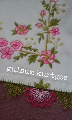 This Pin was discovered by Gül Embroidery Stitches, Hand Embroidery, Crochet Unique, Crochet Pants, Needle Lace, Turkish Towels, Lace Making, Bargello, Needlework