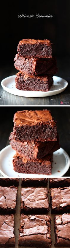 ULTIMATE Brownies - You need to make these! They're thick, fudgy, chewy, chocolaty, with that crinkly crust on top. Definitely one of the best brownie recipes. Keks Dessert, Dessert Bars, Dessert Tables, Yummy Treats, Sweet Treats, Yummy Food, Cupcakes, Cupcake Cakes, Just Desserts