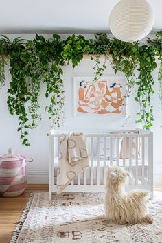 """A """"jungle"""" themed nursery with plenty of hanging plants."""