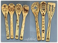 wood burning bamboo spoons by Regina Lord (creative kismet) The Effective Pictures We Offer You About wood fondo A quality picture can tell you many things. You can find the most beautiful pictures th Wood Burning Pen, Wood Burning Crafts, Wood Burning Patterns, Wood Crafts, Dremel, Articles En Bois, Motif Simple, Wood Burn Designs, Pyrography Patterns