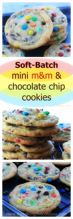 Soft, fluffy, bakery style, really, really good cookies with random mini chocolate chips and mini M&M's in every bite. via HTTP://www.pinterest.com/BaknChocolaTess/