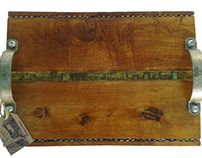Handmade skyliner serving tray. Created by upcycling, recycling materials, repurposed wood, staples, hardware.