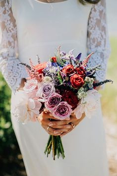 Intimate Coastal Wedding on Long Island, Colorful Mixed Bouquet | Brides.com