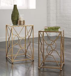 SKU T506-111 Contemporary 2 square nesting end tables, open bar pattern, gold tone, metal, glass tops.