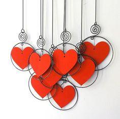 Wire Crafts, Jewelry Crafts, Valentine Day Crafts, Holiday Crafts, Crafts To Make, Arts And Crafts, Art Fil, Wire Art Sculpture, Wire Ornaments