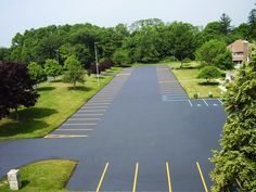This is an areal shot of a parking lot we completed back in Sealed, lined and repaired.