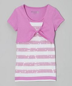 Loving this Orchid Stripe Sequin Layered Top - Toddler & Girls on #zulily! #zulilyfinds