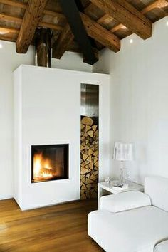 contemporary fireplace (via Dwell / ph. (my ideal home.) contemporary fireplace (via Dwell / ph. (my ideal home.) contemporary fireplace (via Dwell / ph. Interior Design Examples, Interior Design Inspiration, Cozy Fireplace, Fireplace Design, Simple Fireplace, White Fireplace, Minimalist Fireplace, Fireplace Modern, Bedroom Fireplace