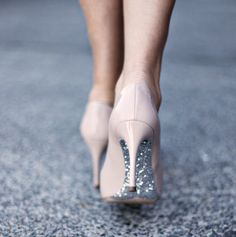 nude pumps with sparkle bottoms