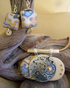Mokume Gane Pendant & Earrings with vintage watch face & screws & brass tubing.